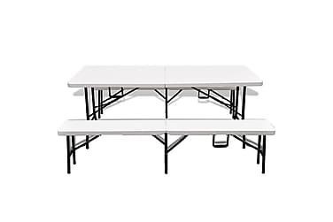 Kokoontaittuva Ulkopöytä 2 penkkiä 180cm teräs & HDPE