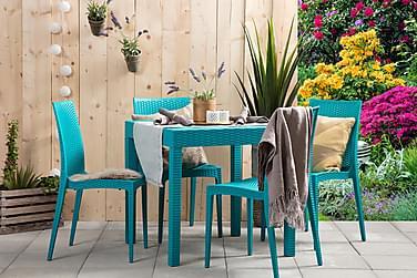 LEORA Pöytä 80 + 4 tuolia Turkoosi