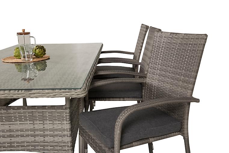 Mopane Ruokapöytä ja 6 Ariamab nojatuolia - Lasi/Harmaa - Puutarhakalusteet - Ulkotilan ruokailuryhmät - Ruokailuryhmät ulos