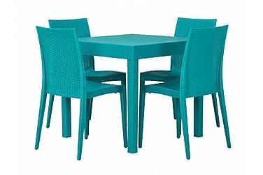 Pöytä Nereo 4 tuolilla Turkoosi