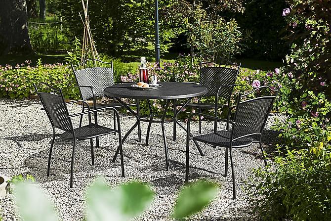 Parvekeryhmä Hillerstorp Glimminge 100 Pyöreä+4 tuolia - Musta - Puutarhakalusteet - Ulkotilan ruokailuryhmät - Ruokailuryhmät ulos