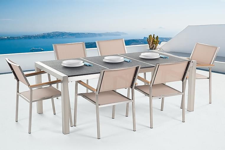 Puutarhakalusteet 1 Pöytä + 6 Grosseto tuolia - Harmaa - Puutarhakalusteet - Ulkotilan ruokailuryhmät - Ruokailuryhmät ulos