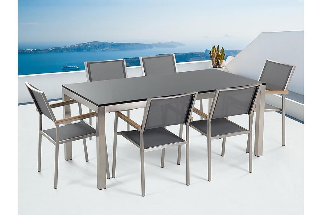 Puutarhakalusteet 1 Pöytä + 6 Grosseto tuolia - Musta - Puutarhakalusteet - Ulkotilan ruokailuryhmät - Ruokailuryhmät ulos