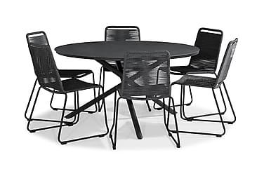 Ruokailuryhmä Alex 140 Pyöreä + 6 Fiji tuolia