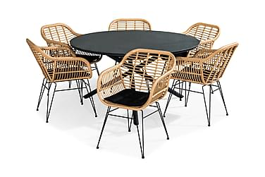Ruokailuryhmä Alex 140 Pyöreä + 6 Larnaca tuolia Pehmuste