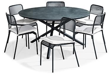 Ruokailuryhmä Alex 140 Pyöreä + 6 Logan tuolia Pehmuste