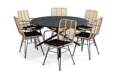 Ruokailuryhmä Alex 140 Pyöreä + 6 Malaga tuolia Pehmuste