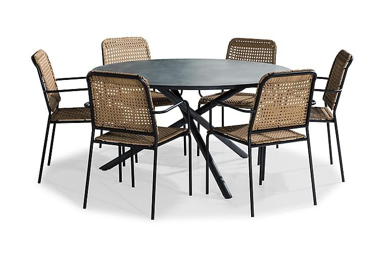 Ruokailuryhmä Alex 140 Pyöreä + 6 Tahiti tuolia - Musta/Harmaa Kivijälj./Beige - Puutarhakalusteet - Ulkotilan ruokailuryhmät - Ruokailuryhmät ulos