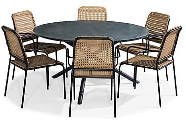 Ruokailuryhmä Alex 140 Pyöreä + 6 Tahiti tuolia