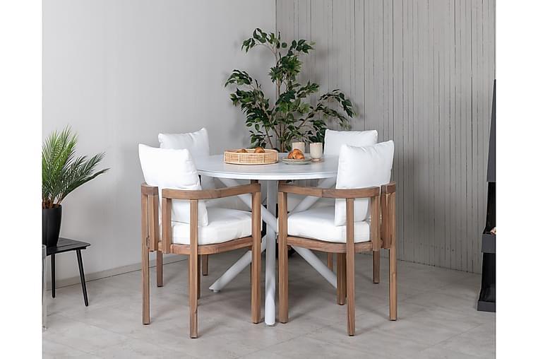 Ruokailuryhmä Almedalen Pyöreä 120 cm 4 Ericton tuolia - Valkoinen/Akaasia - Puutarhakalusteet - Ulkotilan ruokailuryhmät - Ruokailuryhmät ulos