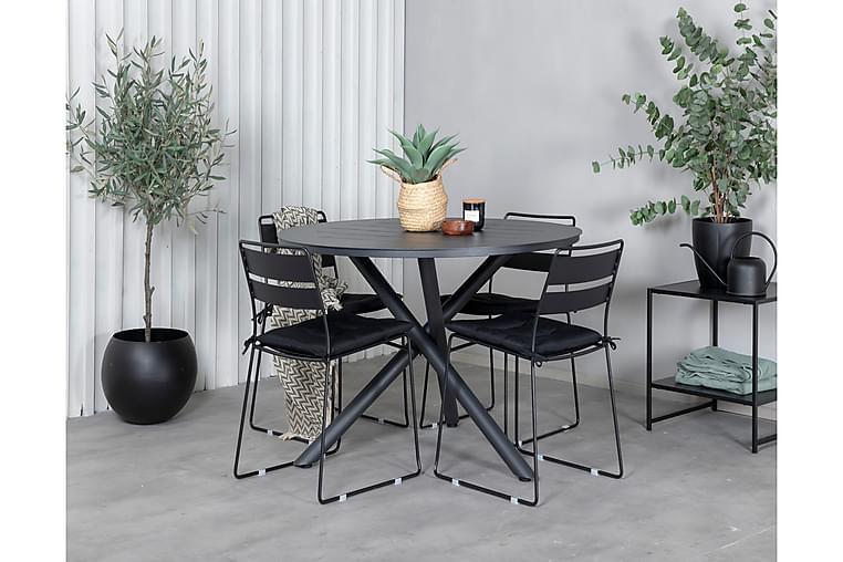 Ruokailuryhmä Almedalen Pyöreä 120 cm 4 Lizzy tuolia - Musta - Puutarhakalusteet - Ulkotilan ruokailuryhmät - Ruokailuryhmät ulos