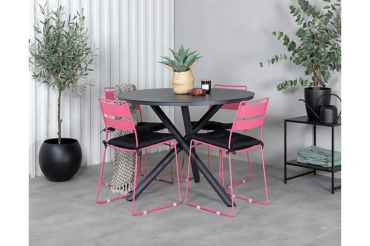 Ruokailuryhmä Almedalen Pyöreä 120 cm 4 Lizzy tuolia - Musta/Vaaleanpunainen - Puutarhakalusteet - Ulkotilan ruokailuryhmät - Ruokailuryhmät ulos