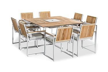 Ruokailuryhmä Båstad 140x140 + 8 tuolia