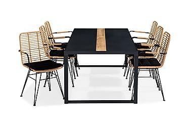 Ruokailuryhmä Bastian 200x100 + 6 Malaga tuolia Pehmuste