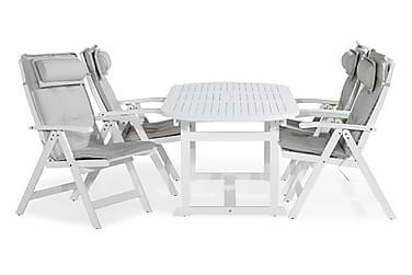 Ruokailuryhmä Dalarö 150-200x72 + 4 Lidö tuolia pehmusteella