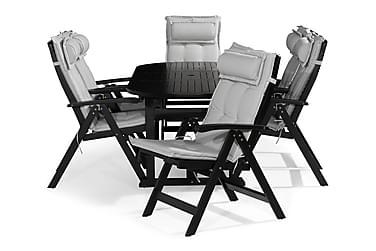 Ruokailuryhmä Dalarö 150-200x72 + 6 Lidö tuolia pehmusteella
