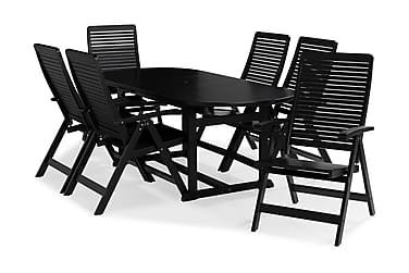 Ruokailuryhmä Dalarö 150-200x72 Ovaali + 6 Lidö tuolia