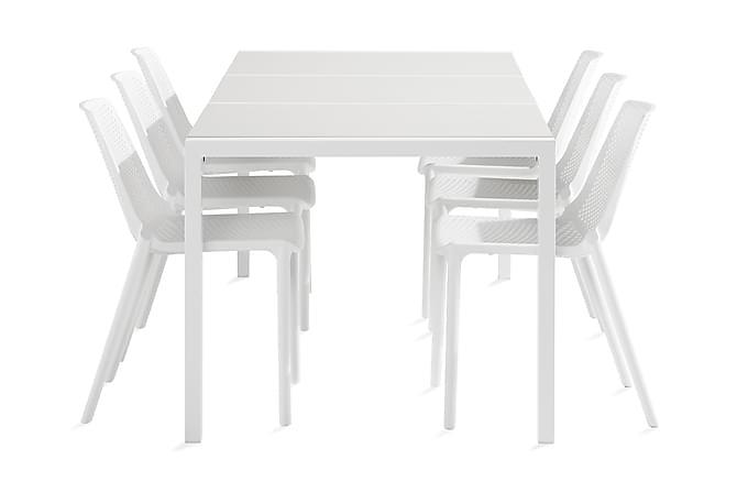 Ruokailuryhmä Dylan 210 cm + 6 Apollo Tuolia - Valkoinen/Valkoinen - Puutarhakalusteet - Ulkotilan ruokailuryhmät - Ruokailuryhmät ulos