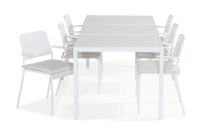 Ruokailuryhmä Dylan 210x90 + 6 Logan tuolia Pehmuste - Musta/Beige - Puutarhakalusteet - Ulkotilan ruokailuryhmät - Ruokailuryhmät ulos