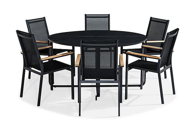 Ruokailuryhmä Flippy 140 Pyöreä + 6 Las Vegas tuolia - Musta/Tiikki - Puutarhakalusteet - Ulkotilan ruokailuryhmät - Ruokailuryhmät ulos