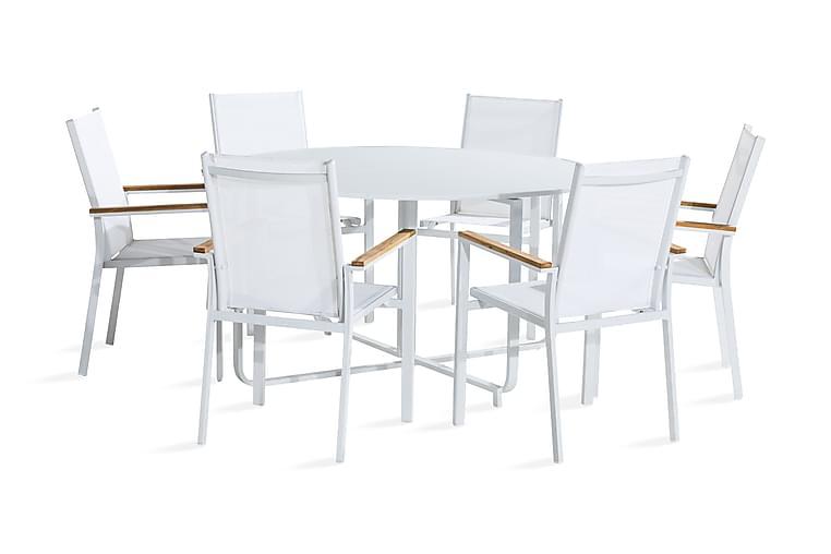 Ruokailuryhmä Flippy 140 Pyöreä + 6 Las Vegas tuolia - Valkoinen/Tiikki - Puutarhakalusteet - Ulkotilan ruokailuryhmät - Ruokailuryhmät ulos