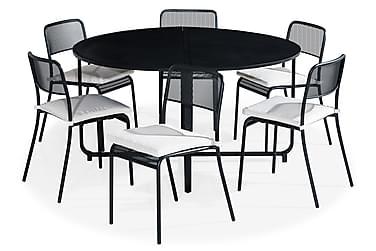 Ruokailuryhmä Flippy 140 Pyöreä + 6 Logan tuolia Pehmuste