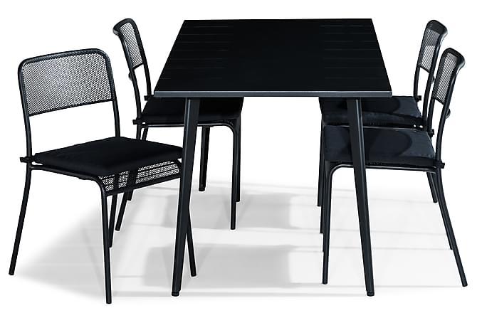 Ruokailuryhmä Grace 150x80 + 4 Logan tuolia Pehmuste - Musta - Puutarhakalusteet - Ulkotilan ruokailuryhmät - Ruokailuryhmät ulos