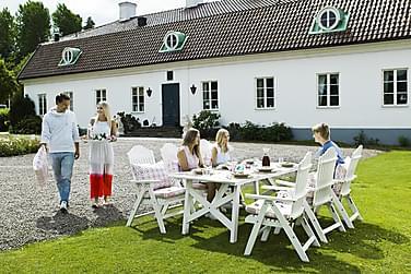 Ruokailuryhmä Hillerstorp Bullerö 90x200 + 6 säätötuolia