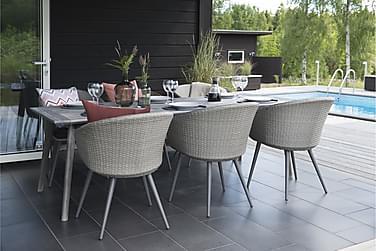 Ruokailuryhmä Hillerstorp Valletta 90x220+6 tuolia +pehmuste