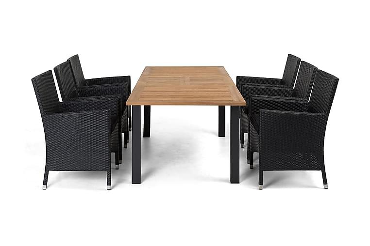 Ruokailuryhmä Las Vegas 152-210 cm + 6 Thor Nojatuolia - Musta/Tiikki/Musta - Puutarhakalusteet - Ulkotilan ruokailuryhmät - Ruokailuryhmät ulos