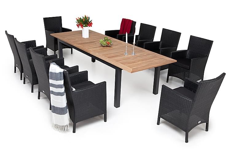 Ruokailuryhmä Las Vegas 220-280 cm + 6 Lady Nojatuolia - Musta/Tiikki/Musta - Puutarhakalusteet - Ulkotilan ruokailuryhmät - Ruokailuryhmät ulos