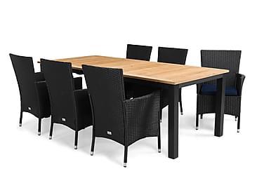 Ruokailuryhmä Las Vegas 220-280x100 + 6 Thor tuolia pehmuste