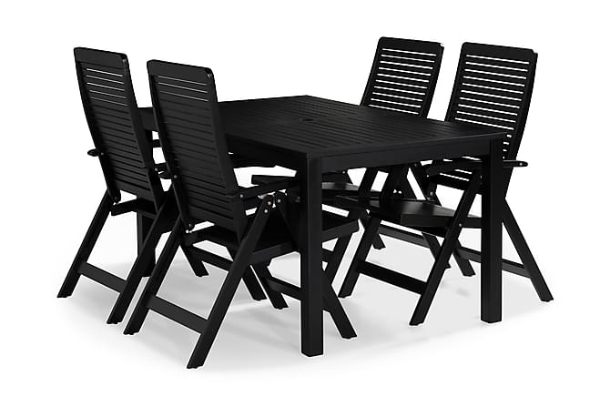 Ruokailuryhmä Lidö 150x90 + 4 Lidö tuolia - Mustalakattu Akaasia - Puutarhakalusteet - Ulkotilan ruokailuryhmät - Ruokailuryhmät ulos