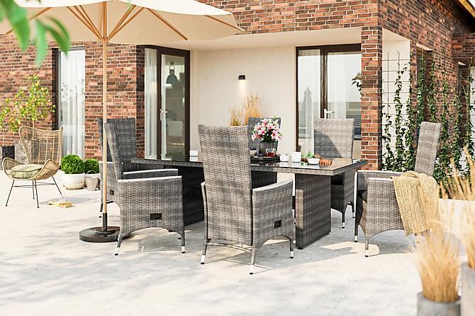 Ruokailuryhmä Majestic 210x100+6 Jenny Lyx nojatuolia - Harmaa - Puutarhakalusteet - Ulkotilan ruokailuryhmät - Ruokailuryhmät ulos