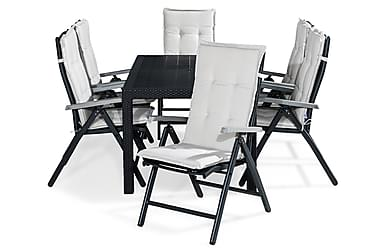 Ruokailuryhmä Melody 160x64 + 6 Monaco tuolia Pehmuste