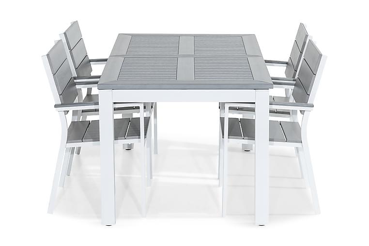 Ruokailuryhmä Monaco 152-210x90 + 4 Tunis tuolia - Valkoinen/Harmaa - Puutarhakalusteet - Ulkotilan ruokailuryhmät - Ruokailuryhmät ulos