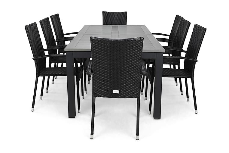 Ruokailuryhmä Monaco 220-280 + 8 Thor Light Tuoli - Musta/Musta - Puutarhakalusteet - Ulkotilan ruokailuryhmät - Ruokailuryhmät ulos