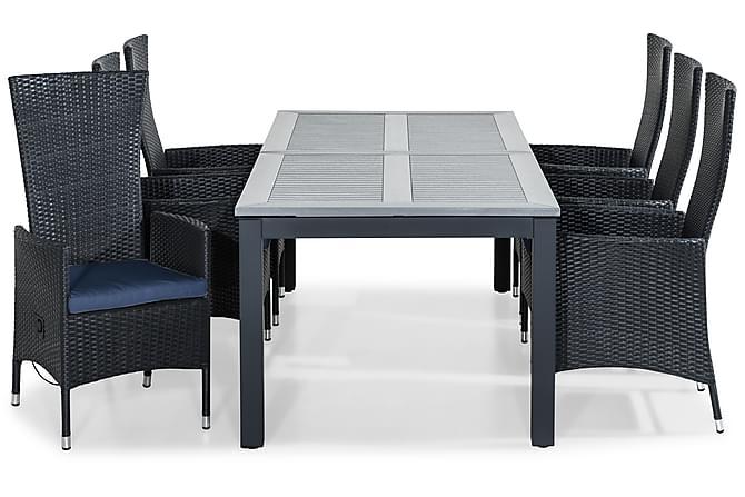 Ruokailuryhmä Monaco 220-280x100 + 6 Jenny tuolia Pehmuste - Musta/Sininen - Puutarhakalusteet - Ulkotilan ruokailuryhmät - Ruokailuryhmät ulos