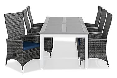 Ruokailuryhmä Monaco 220-280x100 + 6 Jenny tuolia Pehmuste