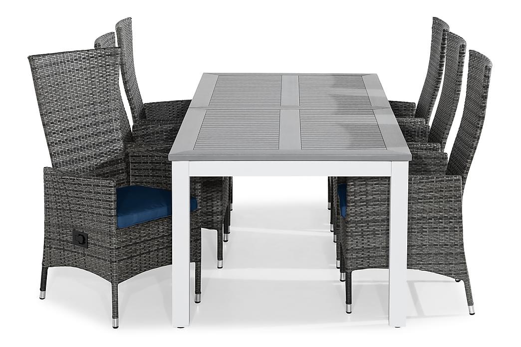 Ruokailuryhmä Monaco 220-280x100 + 6 Jenny tuolia Pehmuste - Valk/Harmaa/Sininen - Puutarhakalusteet - Ulkotilan ruokailuryhmät - Ruokailuryhmät ulos