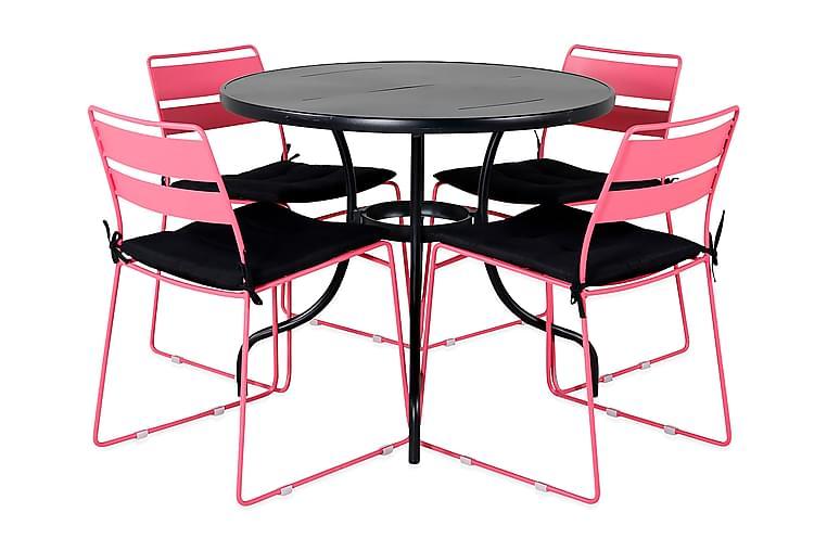 Ruokailuryhmä Nowo Pyöreä 90 cm 4 Lizzy tuolia - Musta/Vaaleanpunainen - Puutarhakalusteet - Ulkotilan ruokailuryhmät - Ruokailuryhmät ulos