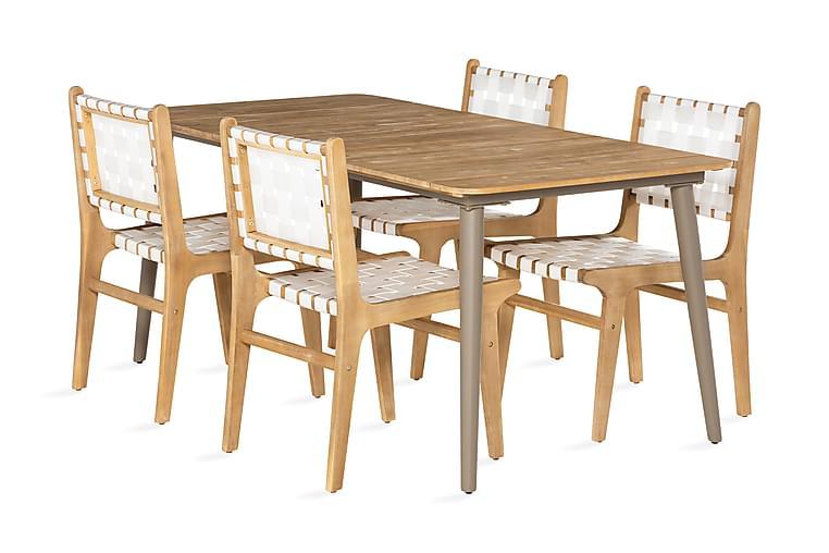 Ruokailuryhmä Panda 180x90 + 4 tuolia - Akaasia/Valkoinen - Puutarhakalusteet - Ulkotilan ruokailuryhmät - Ruokailuryhmät ulos