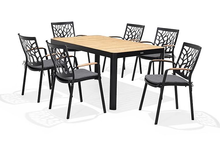 Ruokailuryhmä Portals 161 cm + 6 nojatuolia - Musta/Puu - Puutarhakalusteet - Ulkotilan ruokailuryhmät - Ruokailuryhmät ulos