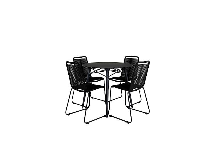 Ruokailuryhmä Santorini Pyöreä 140 cm 4 Linero tuolia - Lasi/Musta - Puutarhakalusteet - Ulkotilan ruokailuryhmät - Ruokailuryhmät ulos