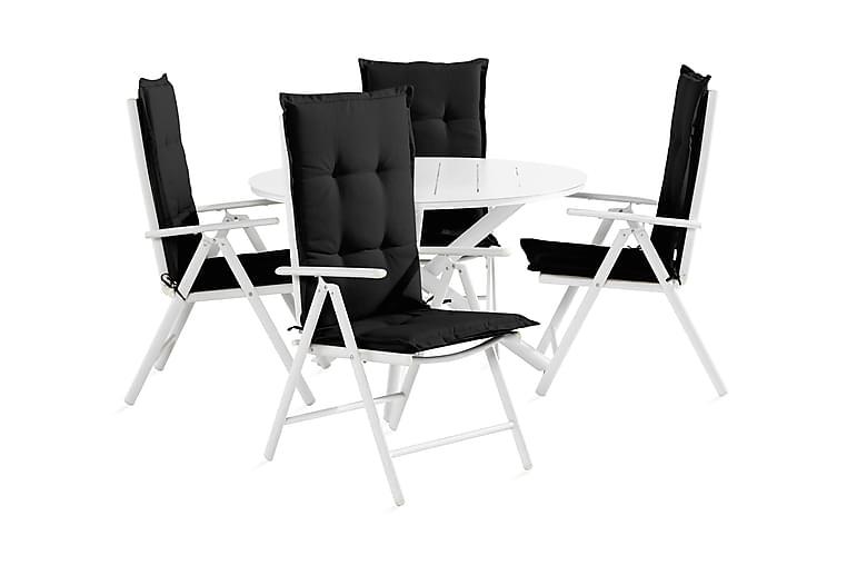 Ruokailuryhmä Space 120 cm Pyöreä + 4  Maggie Tuolia pehmust - Valkoinen/Harmaa/Musta - Puutarhakalusteet - Ulkotilan ruokailuryhmät - Ruokailuryhmät ulos