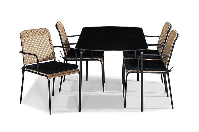 Ruokailuryhmä Tahiti 160x80 + 4 tuolia Pehmuste - Beige/Musta - Puutarhakalusteet - Ulkotilan ruokailuryhmät - Ruokailuryhmät ulos