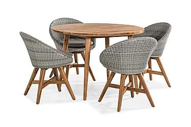 Ruokailuryhmä Tamarin 110x110 + 4 tuolia