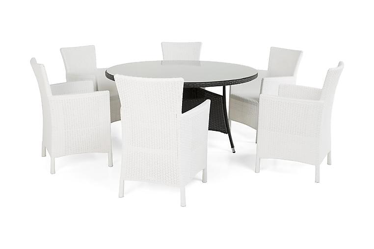 Ruokailuryhmä Thor Ø140 + 6 Lady Nojatuoli - Musta/Valkoinen - Puutarhakalusteet - Ulkotilan ruokailuryhmät - Ruokailuryhmät ulos