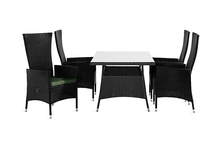 Ruokailuryhmä Thor 140x90 + 4 Jenny tuolia Pehmuste - Musta/Vihreä - Puutarhakalusteet - Ulkotilan ruokailuryhmät - Ruokailuryhmät ulos