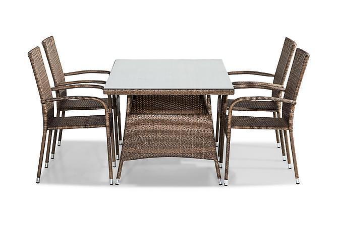 Ruokailuryhmä Thor 140x90 + 4 Thor Light tuolia - Hiekka - Puutarhakalusteet - Ulkotilan ruokailuryhmät - Ruokailuryhmät ulos